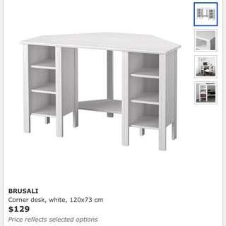 BRUSALI Corner desk, white, 120x73 cm