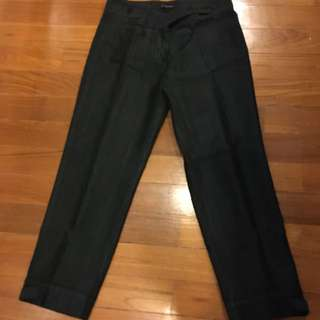 Comfortable Sisley tapered work pants - Grey With Faint White Stripes