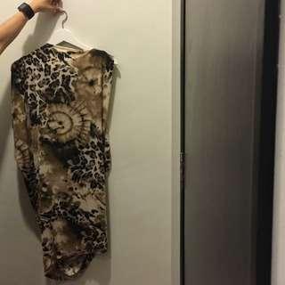 Leopard Print Inspired Soft Draping Dress