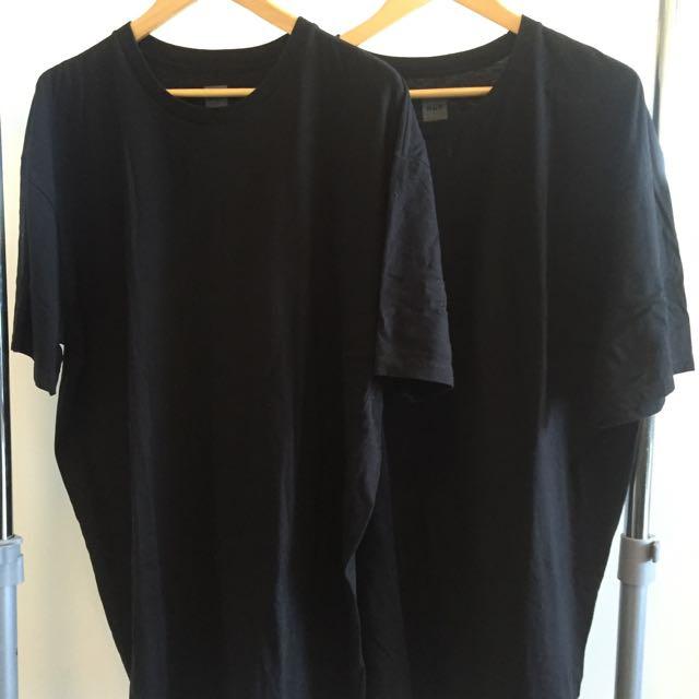 2 PACK - BLACK HUF T-SHIRTS XXL
