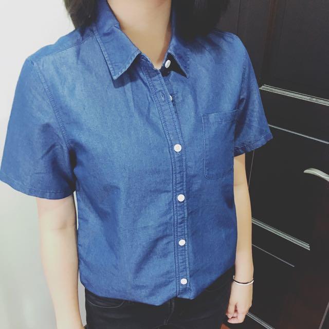 全新(日系品牌)牛仔短袖襯衫