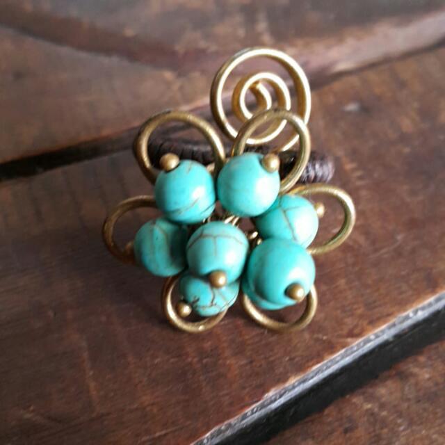 銅編藍色土耳其石戒指