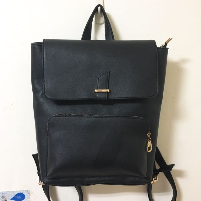 韓版金希妍款簡約設計後背包 黑色