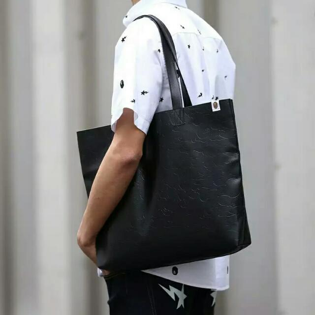 Bape Faux Leather Pattern Large Tote Bag From Japan Magazine Appendix