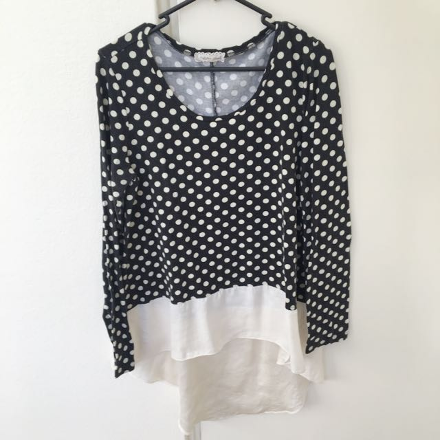 Black And White Polka Dot Long Sleeve Silk Bottomed Top
