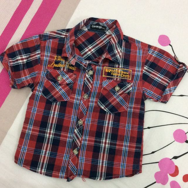 Boy Checkers Red Shirt Size 3