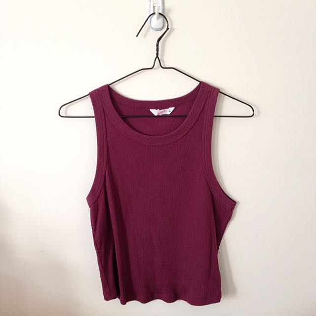 burgundy ribbed top / singlet ❤️