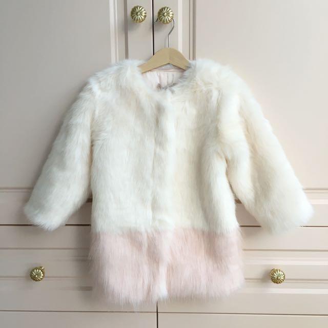 BNWT Carbon soldier Faux Fur Coat