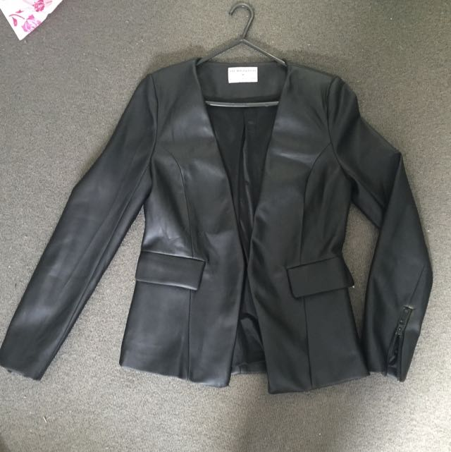 Faux Leather Blaxer