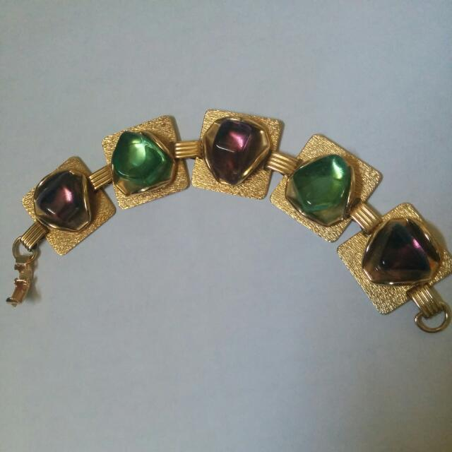 Gold Bracelet with Purple And Green Stones