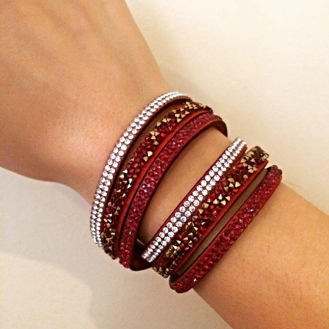 Gorgeous Shining Wrap Bracelet In Red