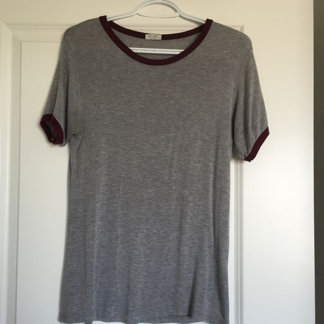 Grey T-Shirt W/ Maroon Boarder