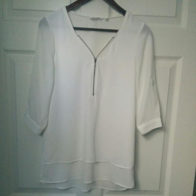 Layered White Chiffon Shirt