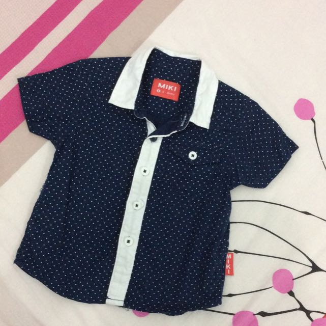 MIKI Polka Dots Dark Blue Shirt 12-18M