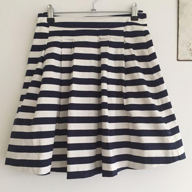 Navy Stripe A-Line Pleat skirt (8)