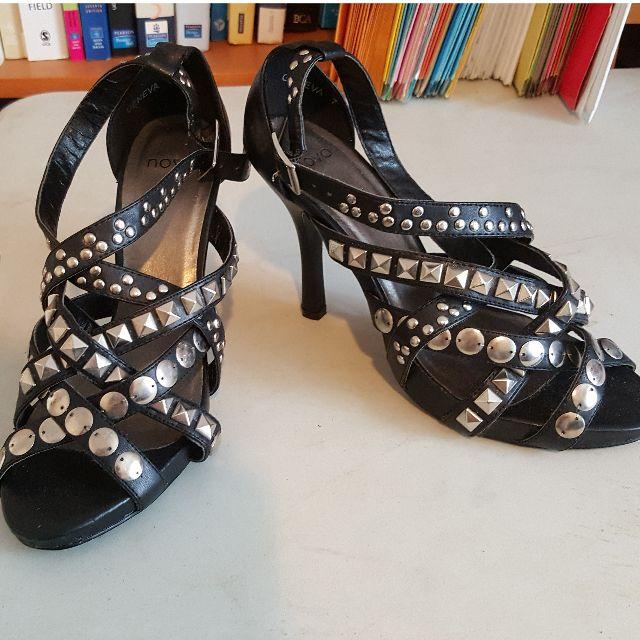 Novo Black Studded Heels Size 7