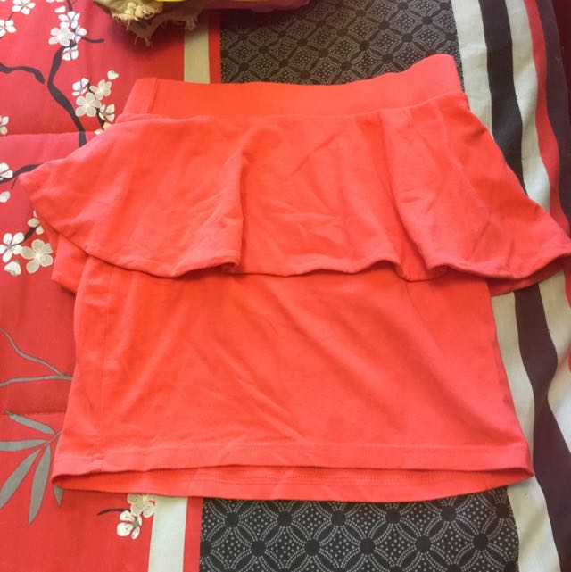 Peach Peplum Skirt