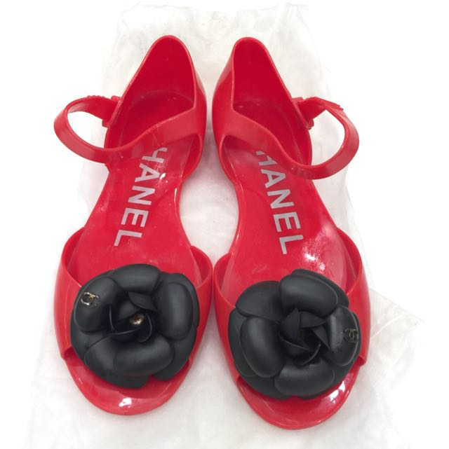 d3c763c21a67 Inspired Chanel Camellia Jelly Sandals Red