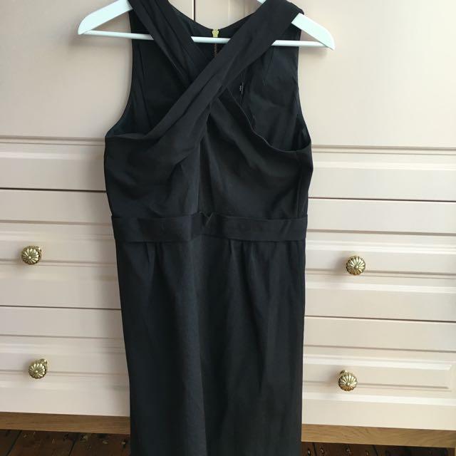BNWT Saba Black Front Cross Over Dress