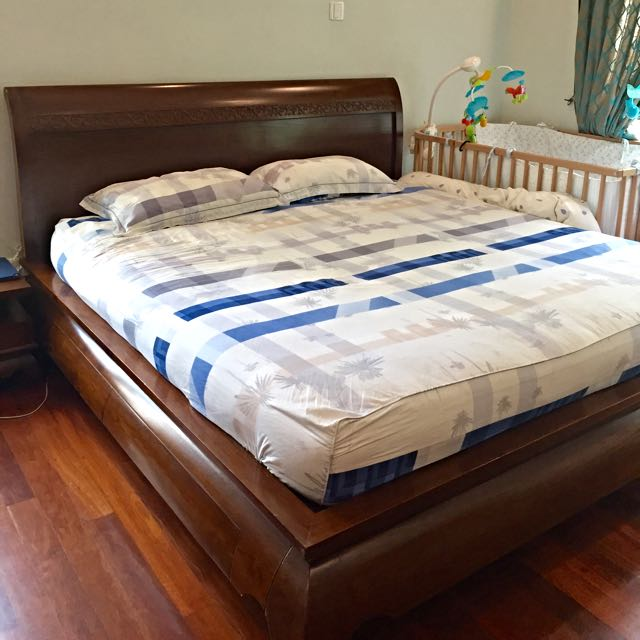 Solid Teak Wood King Size Bed With 2 Side Tables Furniture On Carousell