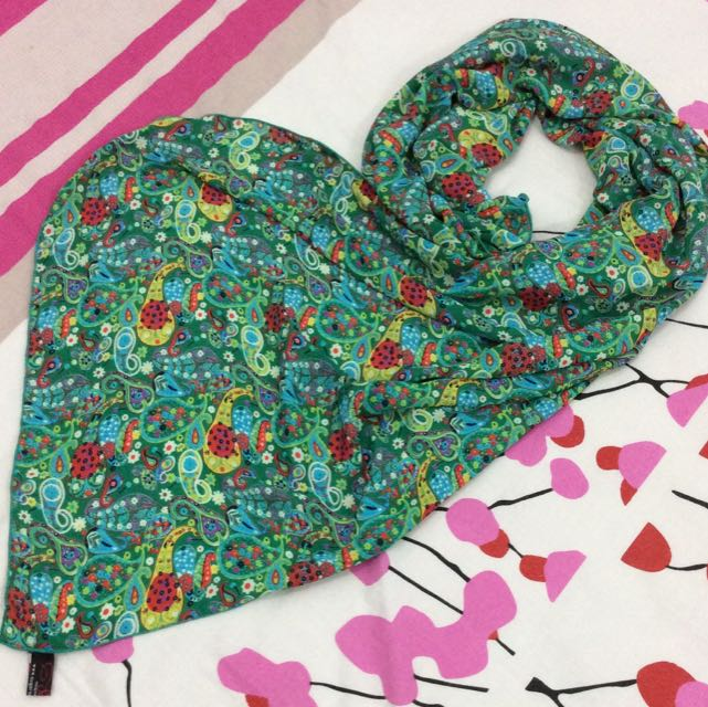Sugarscarf Green Leaves Long Shawl