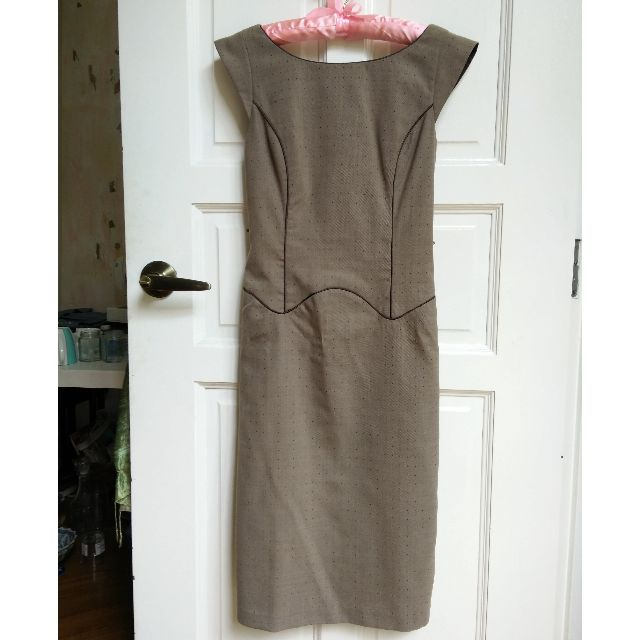 (SOLD) Cocoa With Grey Dot Next Dress XS