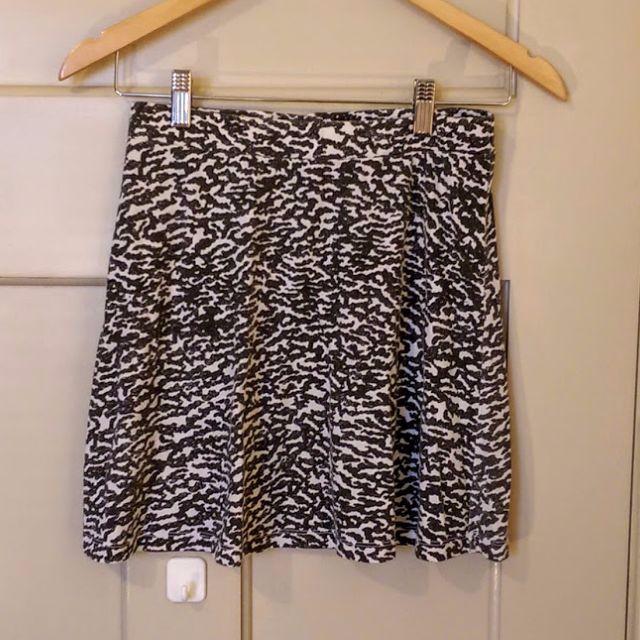 Topshop Black and White Mini Skater Skirt