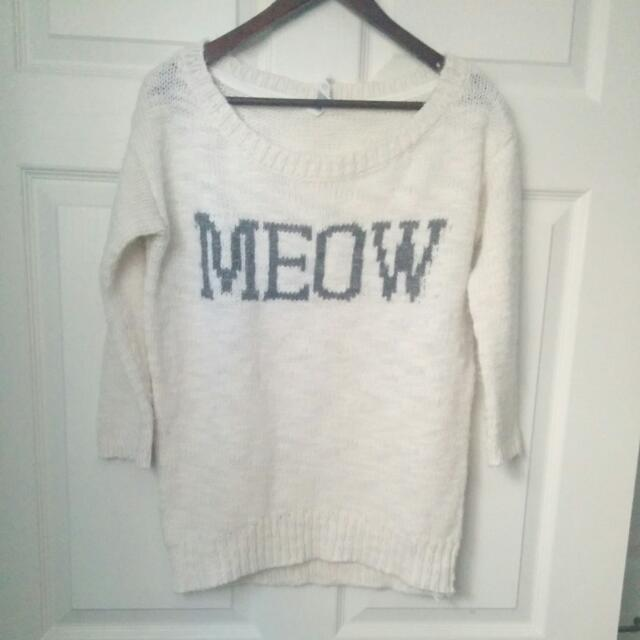 White 'Meow' Sweater