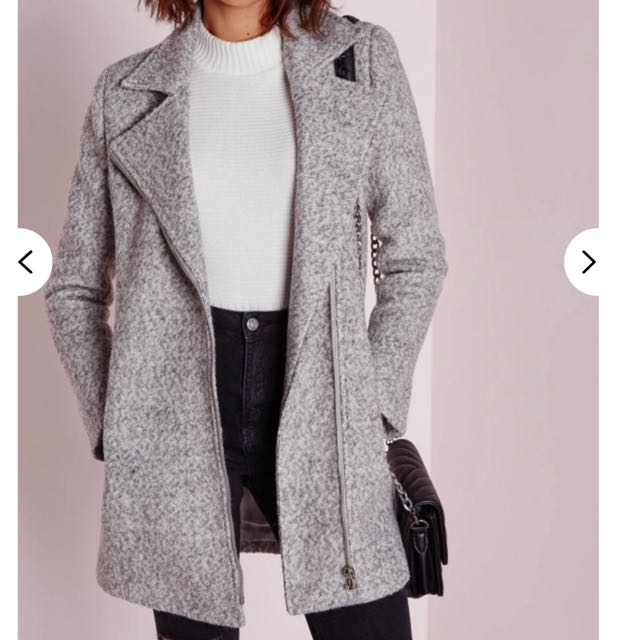 *Price REDUCED* Wool biker Missguided coat grey marl size 4 6