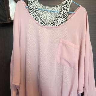 藕粉色雪紡紗兩件式飛鼠袖上衣
