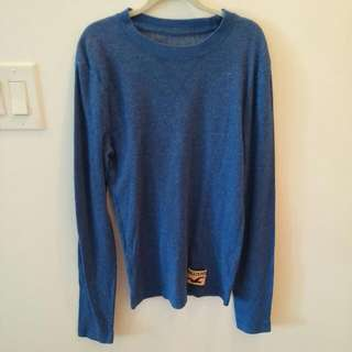 HOLLISTER blue Henley Long Sleeve Shirt