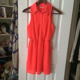 Bright Coral Chiffon Dress