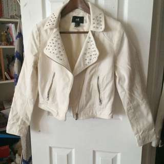 Edgy Studded White Jacket