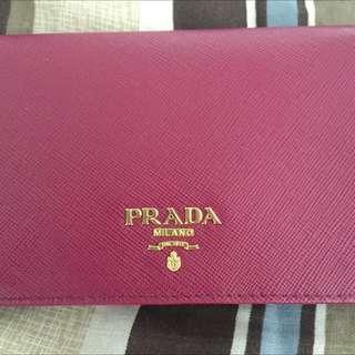 Prada Saffiano Metal Bifold Wallet in Ametista