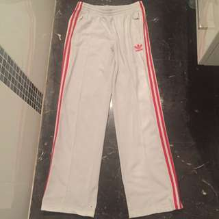 Womens Adidas Track Pants Sz 8 10 12 14 White Red Stripe