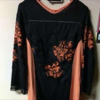 Preloved Nora Collections Orange Dress/jubah