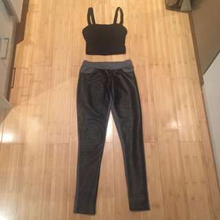 Top And Pants Combo Cotton On Crop And Leather Look Tights Xs Sz 8
