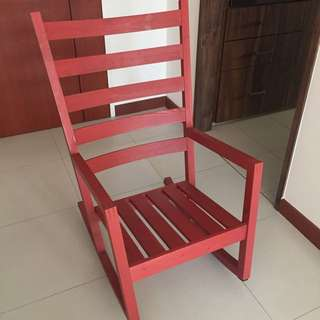 IKEA Wooden Red Rocking chair