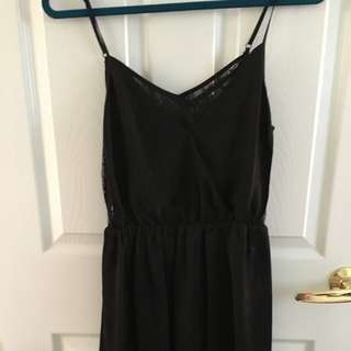 F21 black dress with floral lace