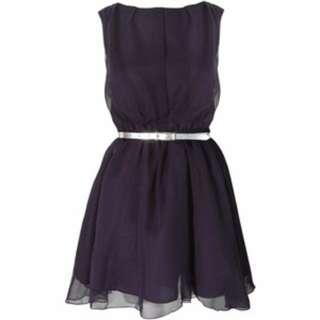 Rare Navy Chiffon Open Back Dress