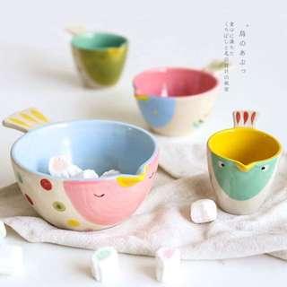 [限時特價]日本單 手工彩繪陶瓷卡通小鳥烤碗組 點心碗 湯碗 泡麵碗 水果碗 湯碗 寶寶碗