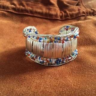 Bohemian Beaded Silver Bracelet