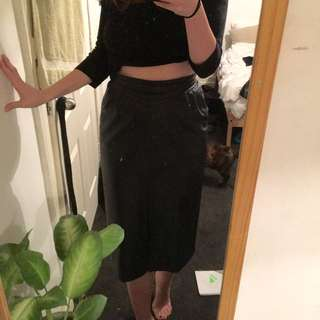 Genuine Leather Black Skirt Sz 10