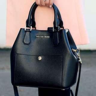 Genuine Authentic Michael Kors Black Bag Greenwich Large Saffiano Leather Satchel