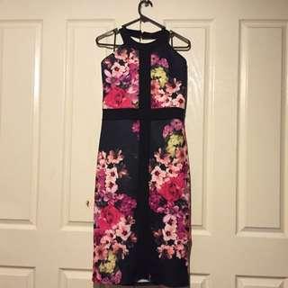Boohoo Tanya Floral Panel Midi Dress