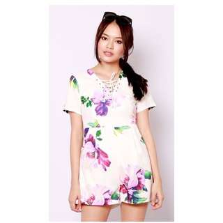 BNIP ShopSassyDream Watercolour Shoelace Floral Romper (Purple)
