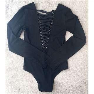 Bardot Criss Cross Bodysuit Top