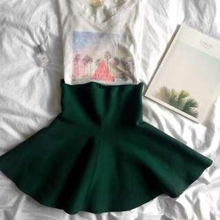 Momou Green High Waisted Skirt