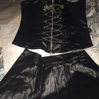 Leather Look Corset And Skirt