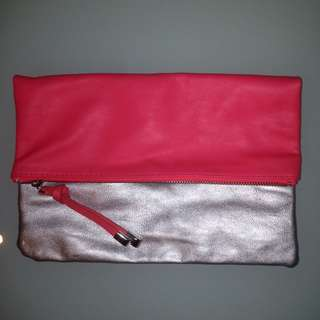 H&M Foldover Clutch Pink/Silver
